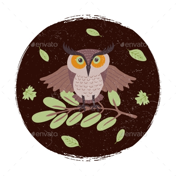 Wild Cartoon Owl on Branch Grunge Card or Emblem - Animals Characters