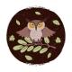 Wild Cartoon Owl on Branch Grunge Card or Emblem