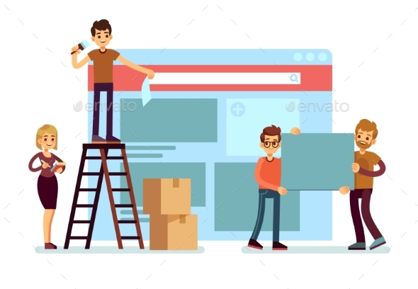 Website Construction and Webdesign Ui Building - Miscellaneous Vectors