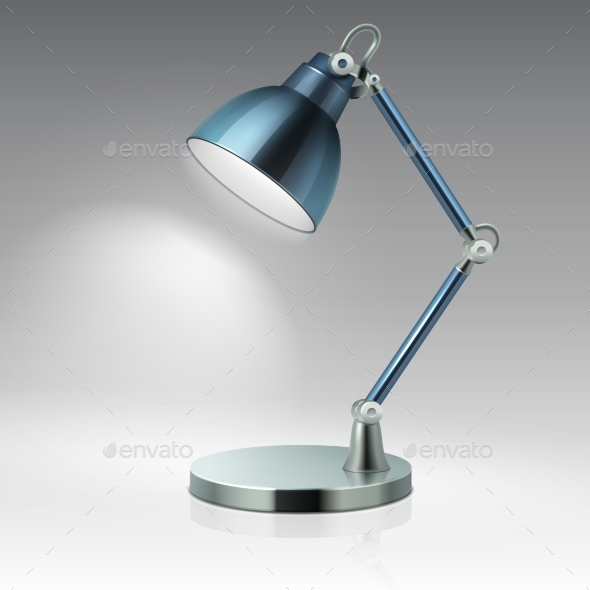 Modern Office Table Metal Lamp Vector Illustration - Objects Vectors