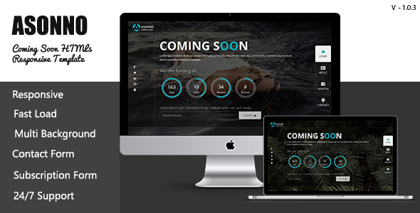 Asonno - Coming Soon HTML5 Responsive Template - Under Construction Specialty Pages