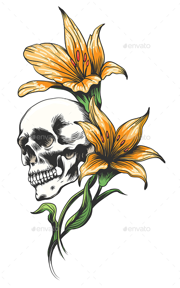 Skull with Orchid Flowers Tattoo - Tattoos Vectors