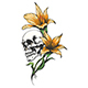 Skull with Orchid Flowers Tattoo