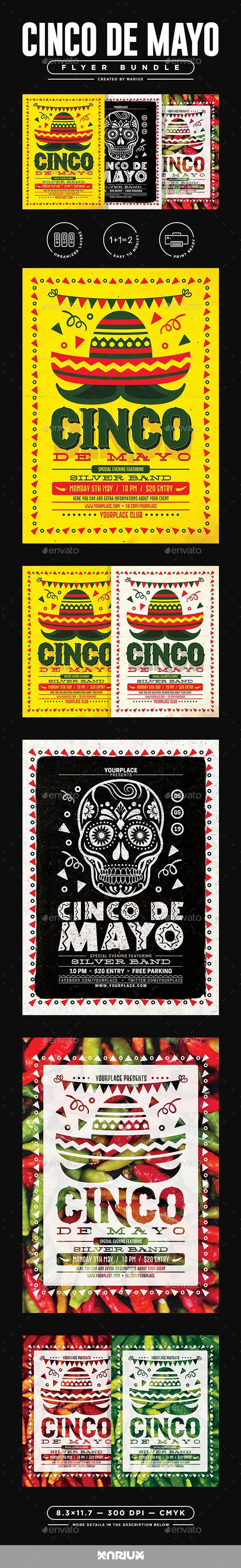 Cinco de Mayo Flyer/Poster Bundle - Events Flyers