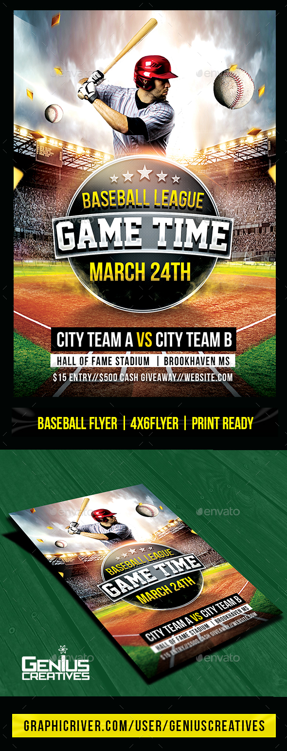 Baseball Game Day Flyer Template by GeniusCreatives | GraphicRiver