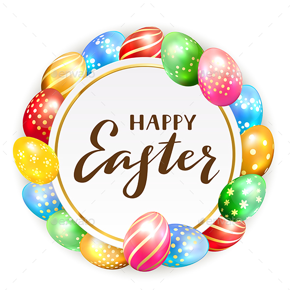 Card with Colorful Easter Eggs - Miscellaneous Seasons/Holidays