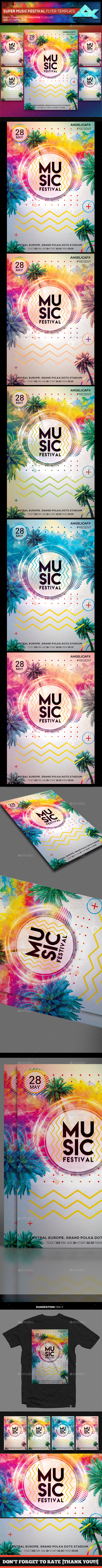 Super Music Festival Flyer Template - Flyers Print Templates
