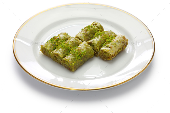 pistachio rolls baklava, fistikli sarma - Stock Photo - Images