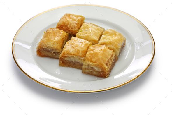 walnut baklava, turkish traditional dessert  - Stock Photo - Images