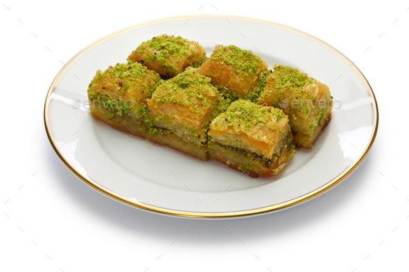 pistachio baklava, fistikli baklava, turkish traditional dessert - Stock Photo - Images