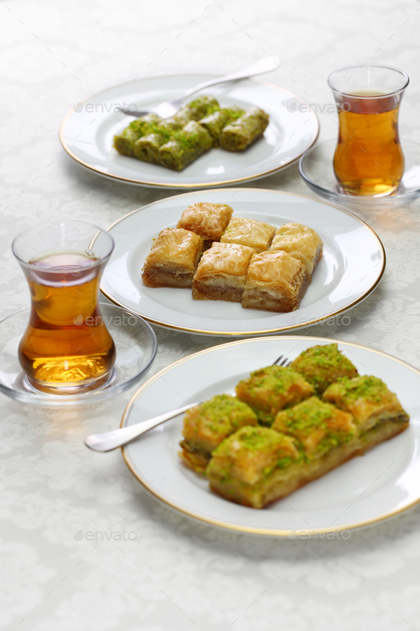 turkish traditional desserts, baklava variations & tea - Stock Photo - Images