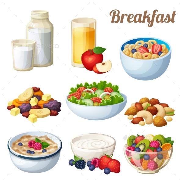 Breakfast 2. Set of Cartoon Vector Food Icons - Food Objects
