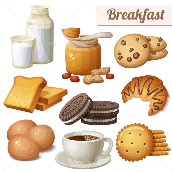Breakfast 3. Set of Cartoon Vector Food Icons - Food Objects