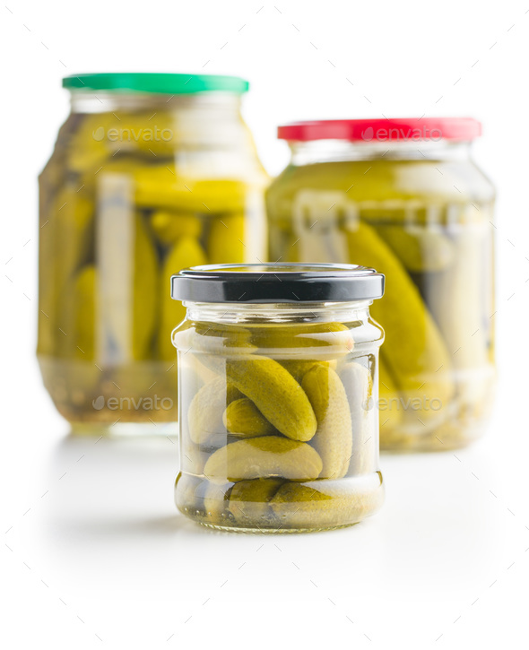 Preserved cucumbers. Tasty pickles. - Stock Photo - Images