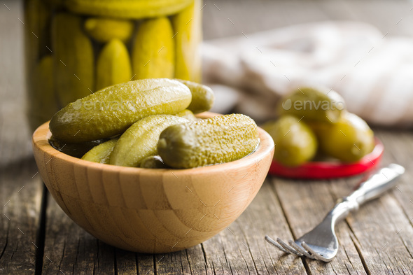 Pickles in bowl. Preserved cucumbers. - Stock Photo - Images
