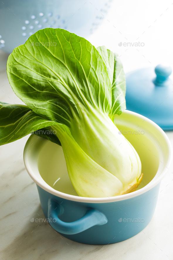 Fresh pak choi cabbage. - Stock Photo - Images