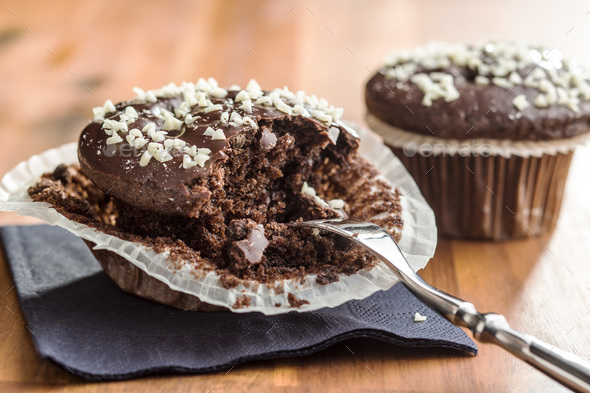 Tasty chocolate muffins. - Stock Photo - Images