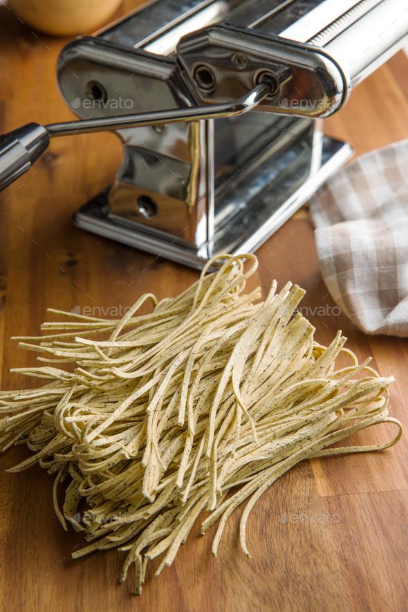 Italian pasta tagliolini with truffles. - Stock Photo - Images
