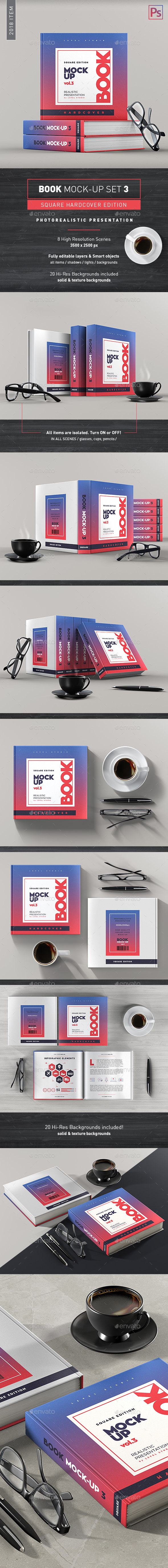 Book Mock-Up Set 3 (Square Hardcover) - 2018 Edition - Books Print