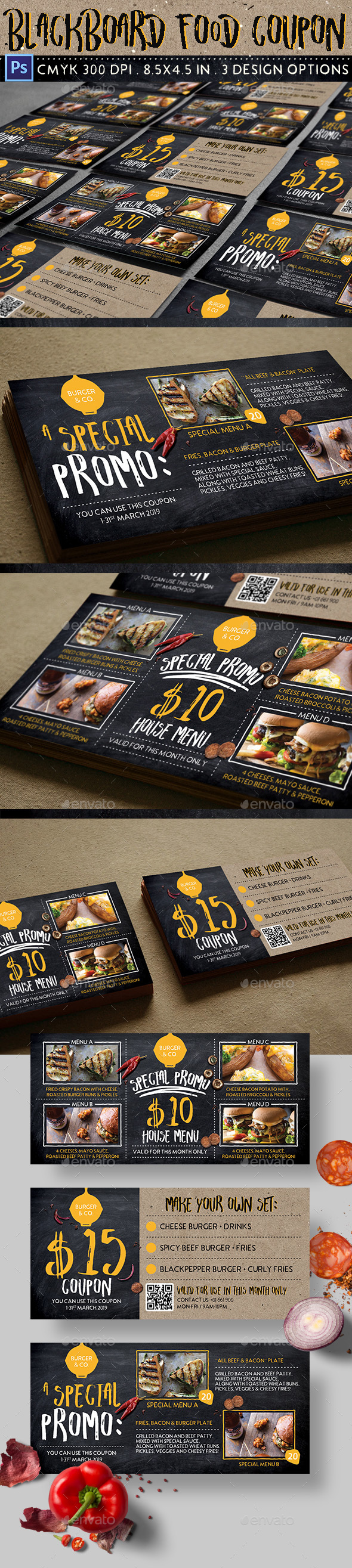 Blackboard Food Coupon - Loyalty Cards Cards & Invites