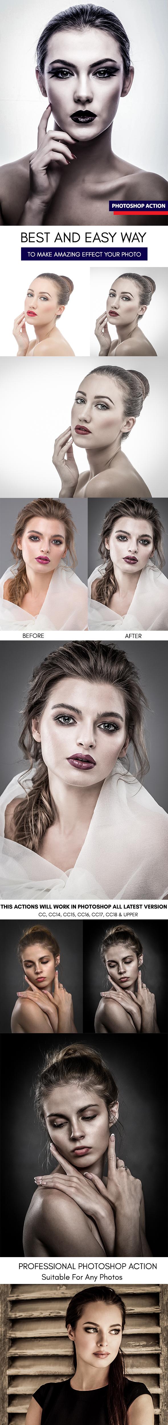 Dramatic Portrait :: Photoshop Action - Photoshop Add-ons