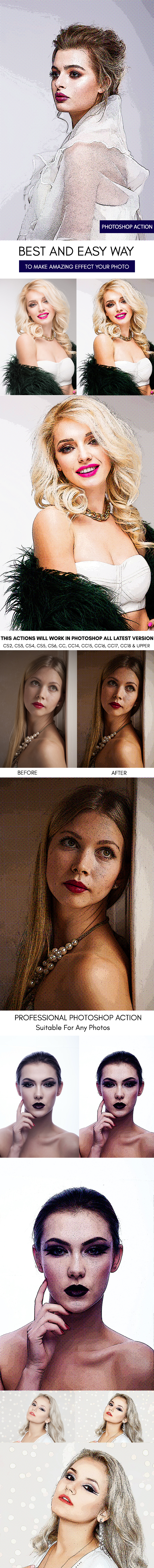 Exaggerated Drawing :: Photoshop Action - Photo Effects Actions