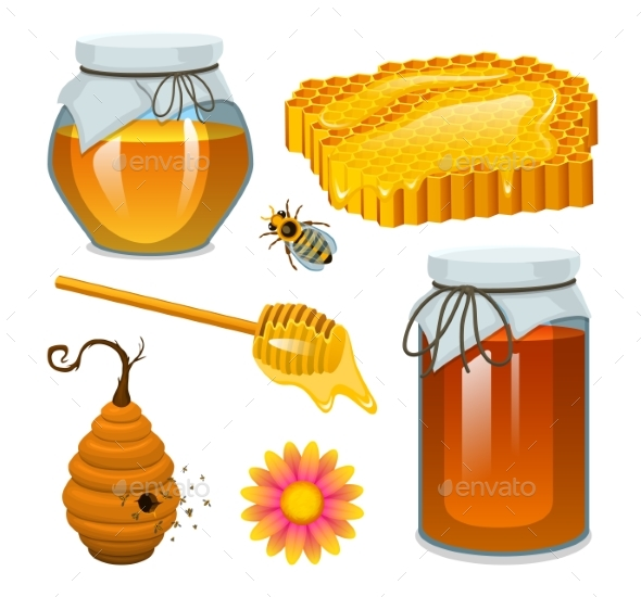 Honey in Jar, Bee and Hive, Spoon and Honeycomb - Food Objects