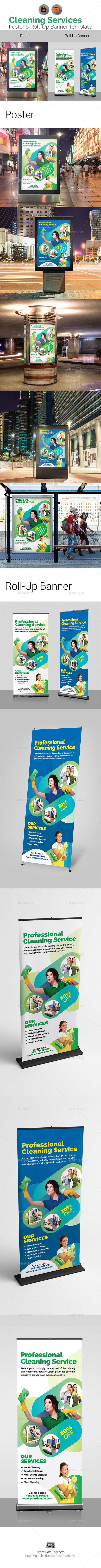 Clean Services Poster & Roll-Up Bundle - Signage Print Templates