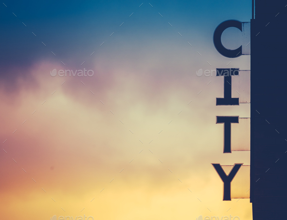 Urban City Sign At Sunset - Stock Photo - Images