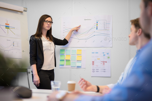 Female Professional Giving Presentation To Male Executives - Stock Photo - Images