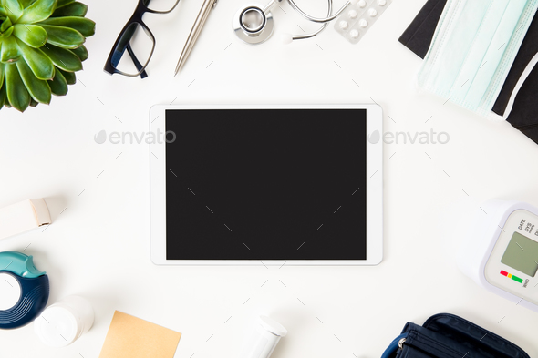 Tablet Computer With Medical Equipment On Table - Stock Photo - Images