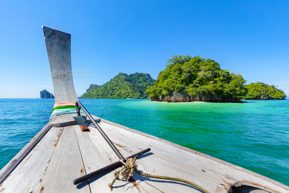 Longtail Boat In Sea During Summer At Aonang Beach - Stock Photo - Images