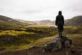 Female Hiker Standing On Rock While Enjoying Nature At Iceland - PhotoDune Item for Sale