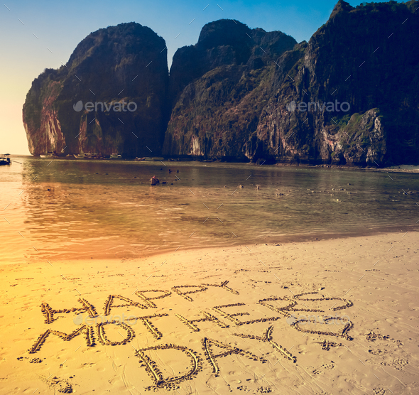 Happy mother's day background on the sandy beach - Stock Photo - Images