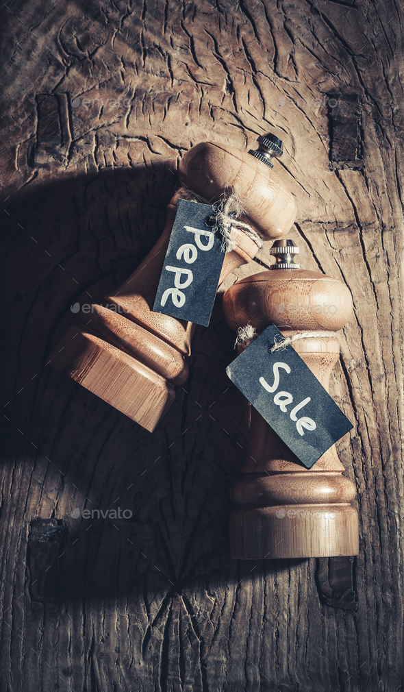 Wooden pepper and salt shaker - Stock Photo - Images