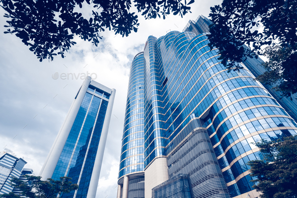 Modern blue glass buildings - Stock Photo - Images