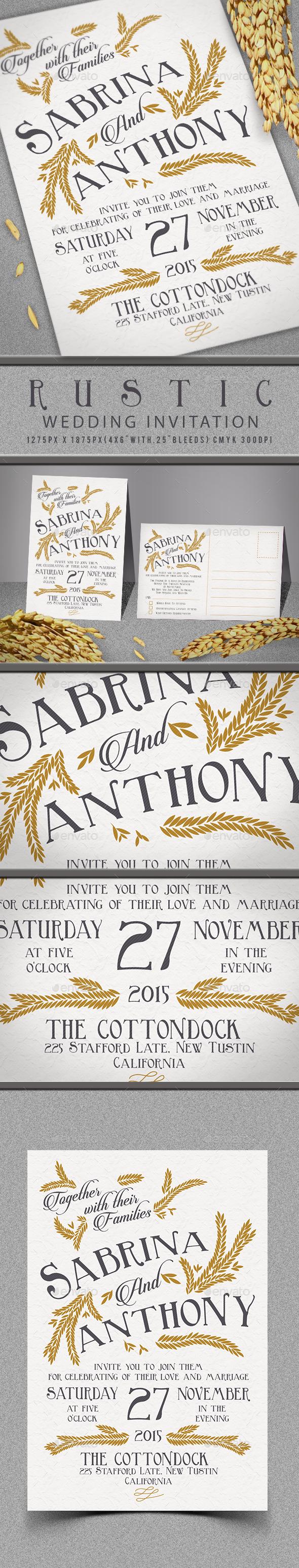 Rustic Wedding Invitation - Invitations Cards & Invites
