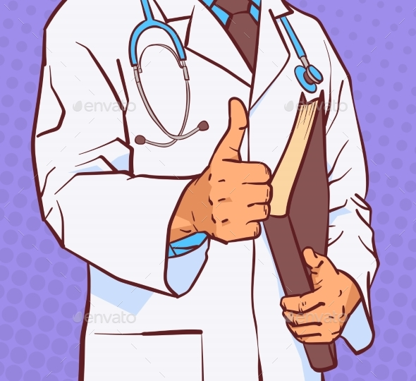 Doctor Holding Thumb Up Closeup Of Medical Male - Health/Medicine Conceptual