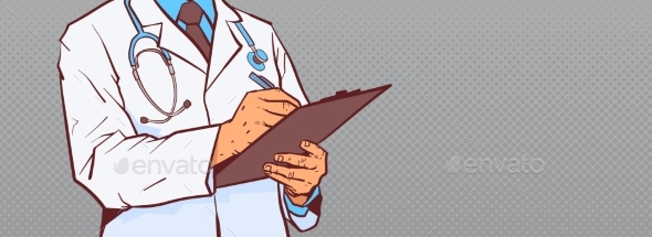 Closeup Of Doctor Hold Clipboard Making Notes - Health/Medicine Conceptual