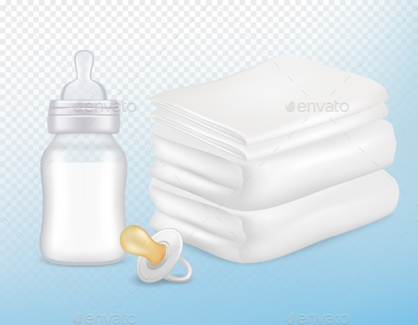 Baby Care Accessories Vector Realistic Mock Up Set - Miscellaneous Vectors