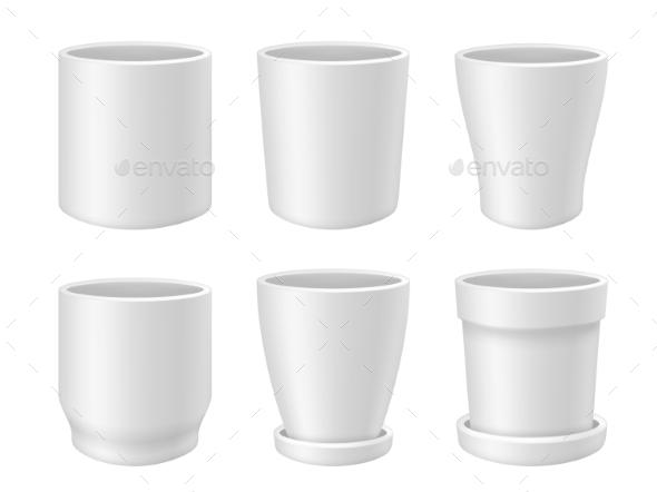 White Empty Flower Pot Vector Realistic Mock Up - Miscellaneous Vectors