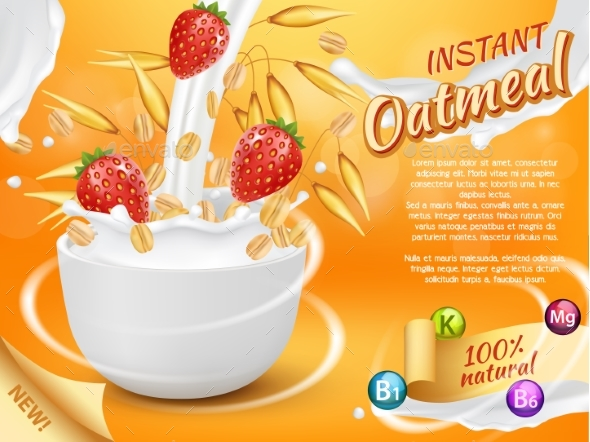 Instant Oatmeal with Strawberry and Milk Splash - Food Objects