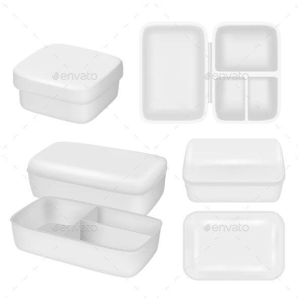 White Empty Plastic Lunch Box Vector Realistic - Food Objects