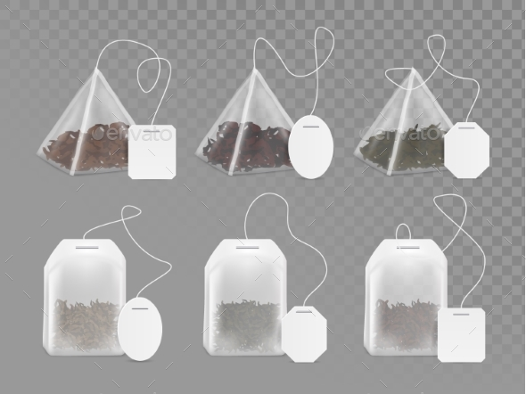 Tea Bag with Empty White Label Vector Mock Up Set - Food Objects