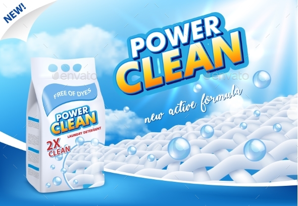 Powder Laundry Detergent Advertising Vector - Backgrounds Decorative