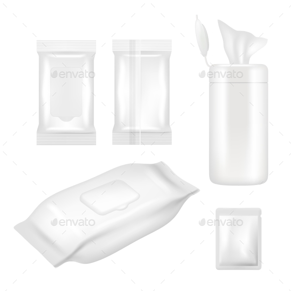 Vector Realistic White Blank Wet Wipes Packaging - Miscellaneous Vectors
