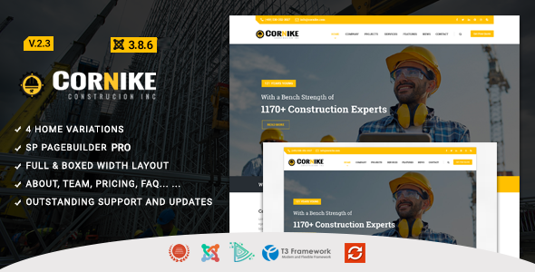 Cornike - Joomla Construction Business Template - Business Corporate