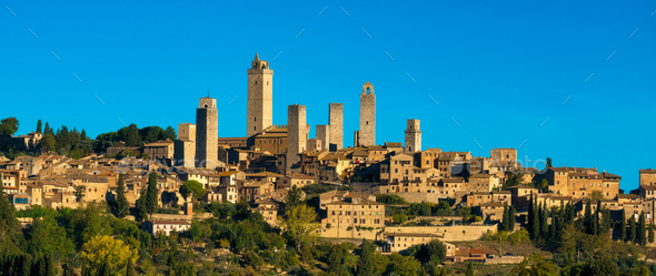 San Gimignano medieval town towers skyline panorama. Tuscany, It - Stock Photo - Images