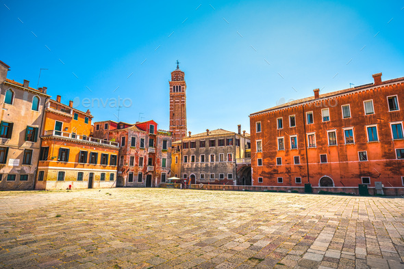 Venice cityscape, Campo S Anzolo square and leaning campanile ch - Stock Photo - Images