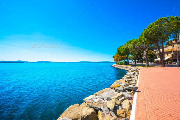Passignano sul Trasimeno town on the Trasimeno lake, Umbria Ital - Stock Photo - Images